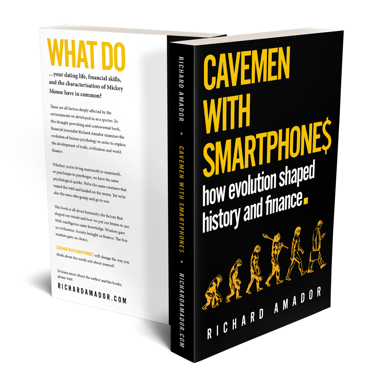 'Cavemen With Smartphones' is tongue-in-cheek meditation on the links between evolution, history and finance. The author is Richard Amador. The book cover & interior design is by Mark Thomas. To learn more about what Mark could do for your book, please visit coverness.com.