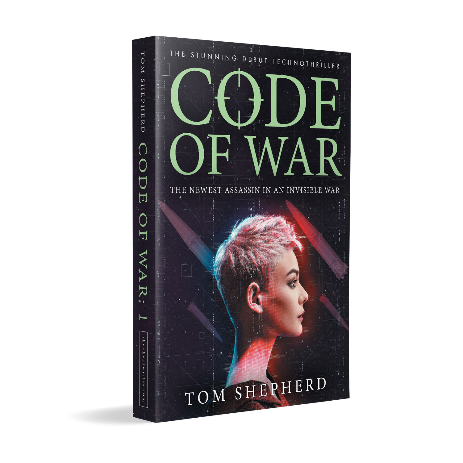 'Code of War' is a bleeding-edge, female-led, military technothriller. The author is Tom Shepherd. The book cover design and interior formatting are by Mark Thomas. To learn more about what Mark could do for your book, please visit coverness.com.