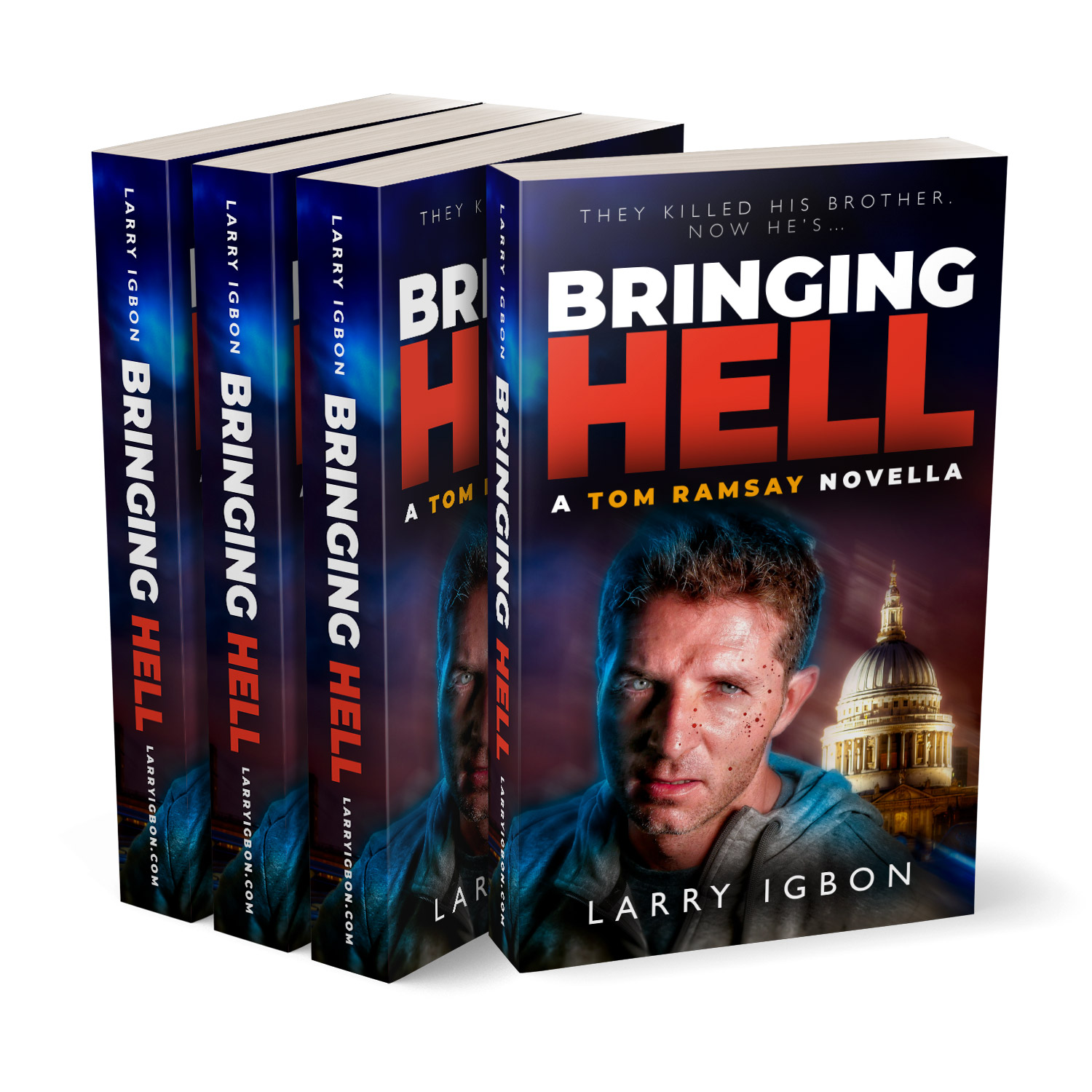 'Bringing Hell' is a hard-bitten revenge thriller. The author is Larry Igbon. The book cover design and interior formatting are by Mark Thomas. To learn more about what Mark could do for your book, please visit coverness.com.